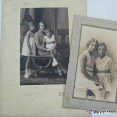 Fotografía antigua: LOTE DE 2 FOTOS DE ESTUDIO DE MADRE CON HIJOS Y DE LOS NIÑOS. DE DUARTE , OVIEDO ... 15 X 22 CM.. Lote 156297702