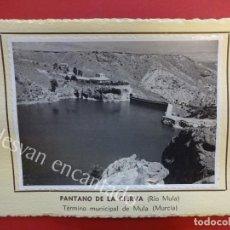 Fotografía antigua: PANTANO DE LA CIERVA (RÍO MULA) MULA (MURCIA). 1953. FOTO CON CARACTERÍSTICAS AL DORSO. Lote 156513514