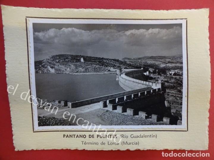 PANTANO DE PUENTES. (RÍO GUADALENTÍN) LORCA (MURCIA)1953. FOTO CON CARACTERÍSTICAS AL DORSO (Fotografía Antigua - Albúmina)