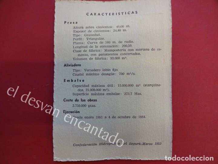Fotografía antigua: PANTANO DE PUENTES. (Río Guadalentín) LORCA (Murcia)1953. Foto con características al dorso - Foto 2 - 156513678