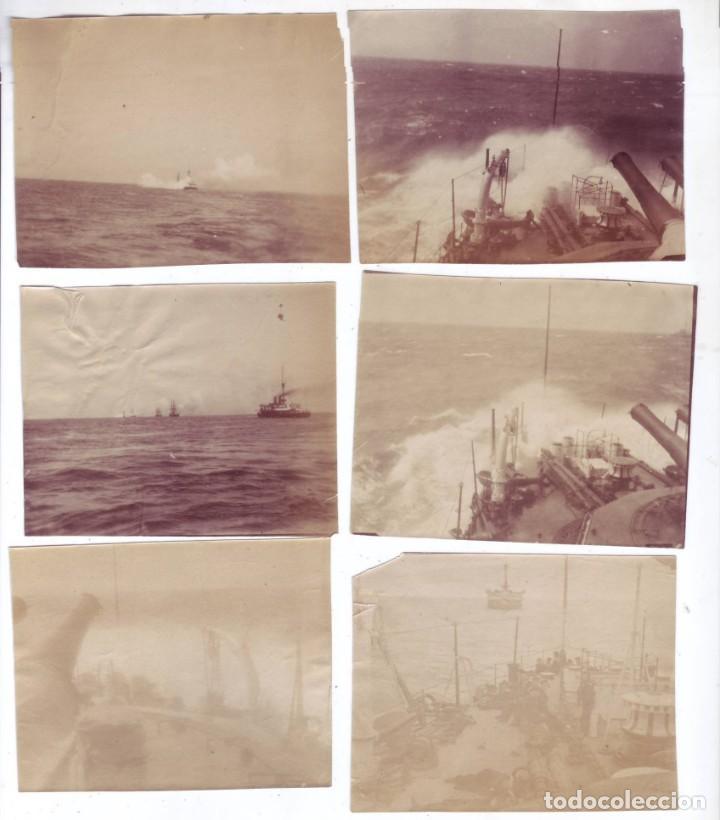 LOTE DE 6 FOTOGRAFÍAS EN ALBÚMINA BARCOS DE GUERRA (FINALES SIGLO XIX - PRINCIPIOS SIGLO XX) (Fotografía Antigua - Albúmina)