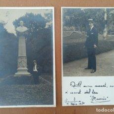 Fotografía antigua: DOS POSTALES FOTOGRAFICAS BARCELONA 1917 PARQUE DE LA CIUDADELA ESCULTURA HOMENAJE MARAGALLM. Lote 163744274