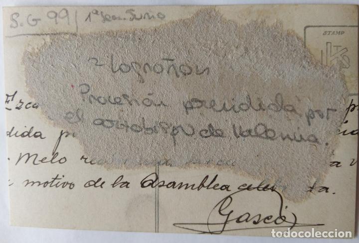 Fotografía antigua: LOGROÑO 1928 PROCESION PRECEDIDA POR EL OBISPO DE VALENCIA . - Foto 2 - 164772142