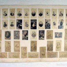 Fotografía antigua: HOJA CON 45 ALBUMINAS. 24 DE ELLAS DE DON CARLOS Y CARLISTAS NOTABLES. CARLISMO. ORIGINAL S. XIX. Lote 165828090