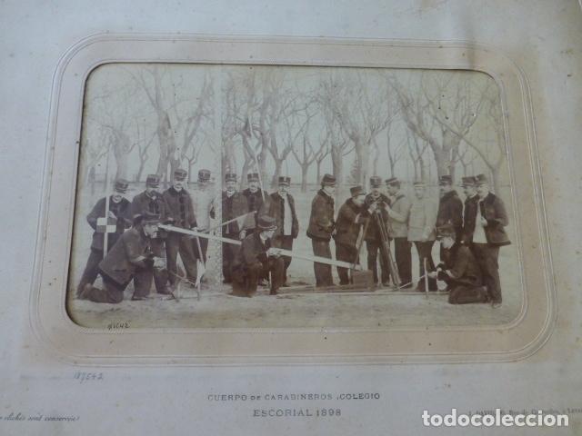 EL ESCORIAL MADRID 1898 COLEGIO CUERPO DE CARABINEROS GRUPO DE ALUMNOS CON INSTRUMENTAL J. DAVID FOT (Fotografía Antigua - Albúmina)