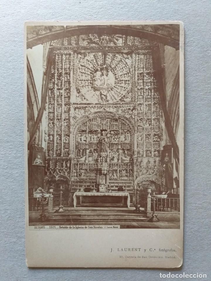 LAURENT. ALBÚMINA. BURGOS. 1571. RETABLO DE LA IGLESIA DE SAN NICOLÁS (Fotografía Antigua - Albúmina)