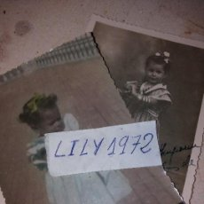 Fotografía antigua: LOTE DOS FOTO FOTOGRAFIA NIÑA PEQUEÑA PRECIOSA VESTIDA GITANA MULATA CÁDIZ ANTIGUA. Lote 167637064