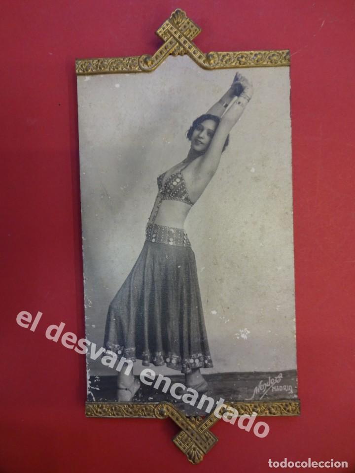 PRECIOSO MARCO 17 X 8 CTMS. ART DECO CON FOTO DE BAILARINA. MUY DECORATIVO (Fotografía Antigua - Albúmina)