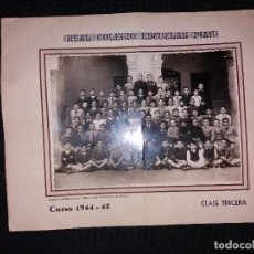 Fotografía antigua: REAL COLEGIO ESCUELAS PIAS CURSO 1944 1945 CLASE TERCERA ÚNICA. Lote 168310628