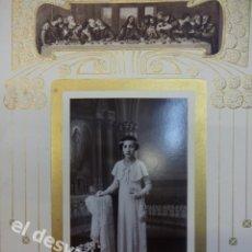 Fotografía antigua: ALBUMINA NIÑA COMUNION. ESTUDIO GALERÍA JOU. GERONA. ESPECTACULAR CARTÓN DECO. 30 X 20 CTMS. Lote 169434756