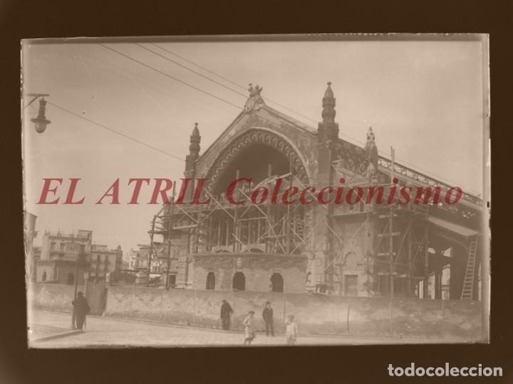 VALENCIA, MERCADO DE COLON EN CONSTRUCCION - CLICHE ORIGINAL - NEGATIVO EN CRISTAL - AÑOS 1914-1916 (Fotografía Antigua - Albúmina)