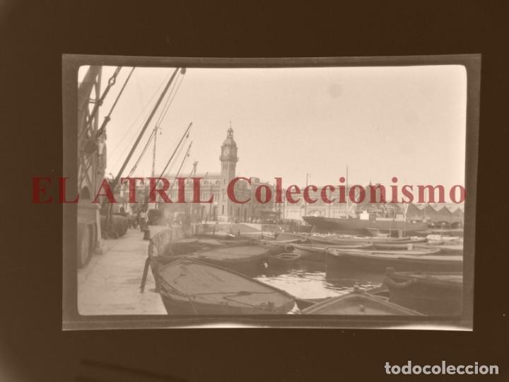 VALENCIA, VISTA DEL PUERTO - CLICHE ORIGINAL NEGATIVO EN CELULOIDE - AÑOS 1920-30 (Fotografía Antigua - Albúmina)