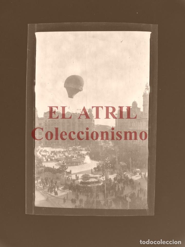 VALENCIA, GLOBO AEROSTATICO - CLICHE ORIGINAL NEGATIVO EN CELULOIDE - AÑOS 1920-30 (Fotografía Antigua - Albúmina)