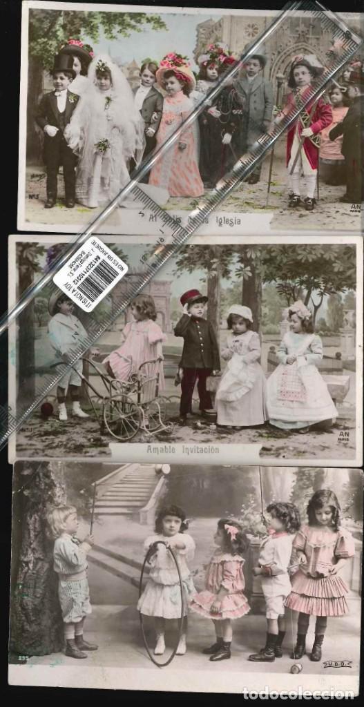 ESCENAS NIÑOS JUGANDO TRES POSTALES 1905 (Fotografía Antigua - Albúmina)