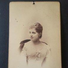 Fotografía antigua: MADRID DEBAS FOTOGRAFO RETRATO DE DAMA HACIA 1890. Lote 172087978