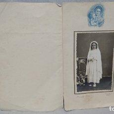 Fotografía antigua: ANTIGUA FOTOGRAFÍA RETRATÓ PRIMERA COMUNIÓN - FOTOGRAFO NUEVO ( BURGOS) . Lote 172239657