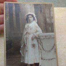 Fotografía antigua: FOTOGRAFÍA NIÑA PRIMERA COMUNIÓN - JULIO DERREY - VALENCIA -. Lote 172728767