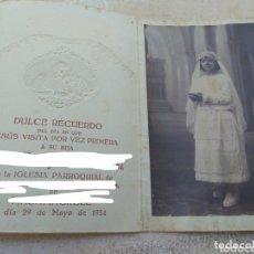 Fotografía antigua: ANTIGUA FOTOGRAFÍA NIÑA PRIMERA COMUNIÓN - AÑO 1924 - VENDRELL - VALENCIA -. Lote 172947430