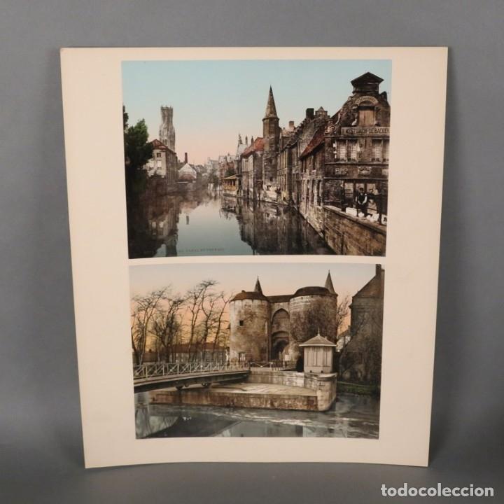 FOTOGRAFIA. BÉLGICA - BRUGES. CANAL ET BEFFROI. 38 X 32 CM. 1180 - 1900 (Fotografía Antigua - Albúmina)