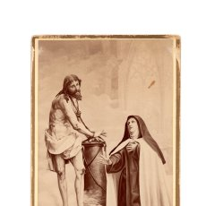 Fotografía antigua: ÁVILA.- APARICIÓN DE NUESTRO SEÑOR ATADO Á LA COLUMNA, Á SANTA TERESA DE JESÚS. TORRON HERMANOS.. Lote 175321983