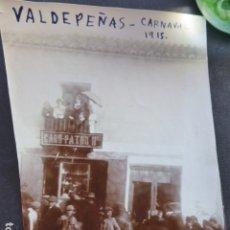 Fotografía antigua: VALDEPEÑAS CIUDAD REAL CARNAVAL 1915 FOTOGRAFIA 8 X 11,5 CMTS. Lote 175511054