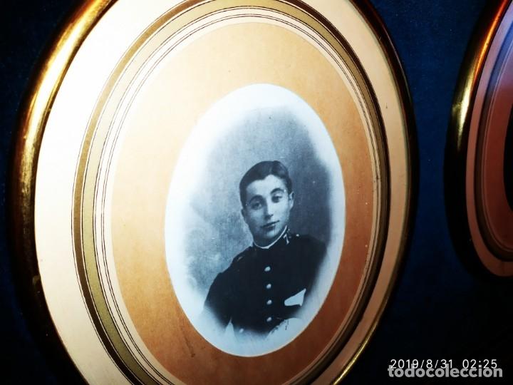 Fotografía antigua: ANTIGUO MILITAR CON SU MUJER ENMARCADOS GRAN MARCO PRECIOSO TERCIOPELO AZUL - Foto 2 - 175639978