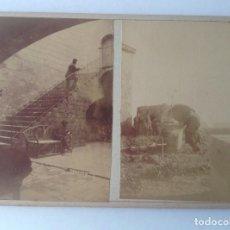 Fotografía antigua: CASTELL DE FELS CASTELLDEFELS VILADENCANS * CA. 1870´S * 2 ALBUMINAS * CEMENTERIO Y TORRE DEL BARO. Lote 176016230