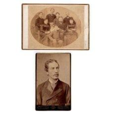 Fotografía antigua: FAMILIA DE LA CIERVA.( 25X17). Y PLACIDO DE LA CIERVA CONDE DE BALLOBAR. FIRMA ORIGINAL.(21,X13,5).. Lote 177212954