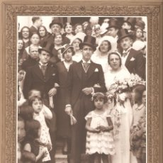 Fotografía antigua: FOTOGRAFÍA DE BODA. FOTÓGRADO DESCONOCIDO (POSIBLEMENTE MADRID) 220 MM. X 284 MM.. Lote 177785024