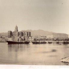 Fotografía antigua: LOTE DE 2 FOTOGRAFIAS ALBUMINA MALAGA Y ALHAMBRA DE GRANADA. C. 1880. Lote 178094507
