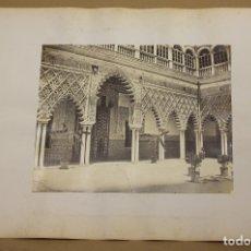 Fotografía antigua: LOTE DE 2 FOTOGRAFIAS ALBUMINA ALCAZAR DE SEVILLA. C. 1880. Lote 178095083