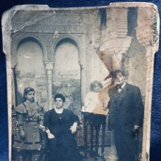 Fotografía antigua: FOTOGRAFÍA ALBÚMINA CARTÓN RECUERDO DE LA ALHAMBRA FAMILIA S XIX XX. Lote 178163442