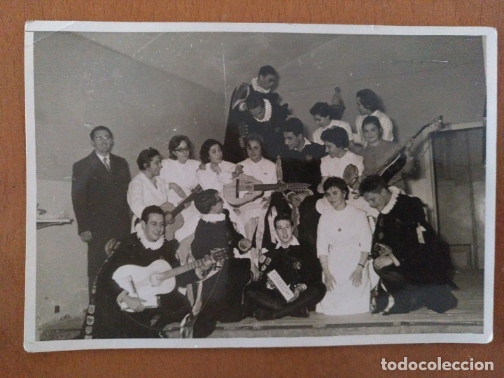 FOTO ENFERMERAS CON LA TUNA PROBABLEMENTE HOSPITAL CLINICO BARCELONA AÑOS 60 (Fotografía Antigua - Albúmina)