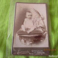 Fotografía antigua: NIÑO , NIÑA , BEBE. . FOTOGRAFO TORRES. EN TARRAGONA Y REUS. FORMATO: 13 X 8 CM.. Lote 178576325