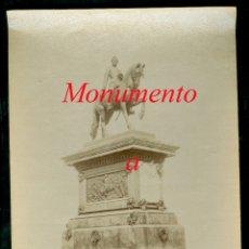 Fotografía antigua: MONUMENTO A PRIM - FOTOGRAFIA ESPLUGUES - 1890'S. Lote 179388461