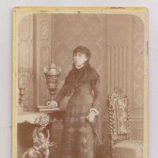 Fotografía antigua: FOTOGRAFÍA. FOTOGRAFÍA CON SOMBRILLA Y MANTILLA. J. M. MAYA, FOTÓGRAFO. PORTAL DE MERCADERES, MÉXICO. Lote 179555006