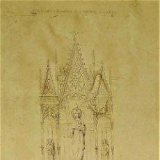 Fotografía antigua: PROYECTO DE RETABLO NEOGÓTICO. FOTO.CON DEDICATORIA Y AUTÓGRAFO DE JOSÉ MESTRES. ESPAÑA 1867. Lote 181021633