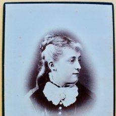 Fotografía antigua: FOTOGRAFIA DE ESTUDIO DAMA BARCELONÉS. FINAL SIGLO XIX. E.PUIG FOTOG- CON DEDICATORIA 16,4 X 10,3 CM. Lote 181701247