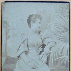 Fotografía antigua: ANTIGUA FOTOGRAFÍA DE DAMA- CONRADO FONT- 16 X 10 CM.. Lote 181716105