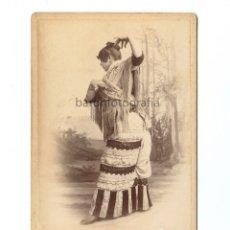 Fotografía antigua: BAILAORA, ARTISTA POR IDENTIFICAR. 1890 APROX. FOTO: ANTONI ESPLUGAS. 11X16,5 CM.. Lote 182050161