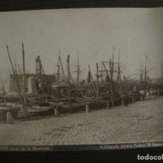 Fotografía antigua: BARCELONA-PUERTO DE LA BARCELONETA-BARCOS-FOTOGRAFIA PONIENTE-ALBUMINA ANTIGUA-VER FOTOS-(V-17.992). Lote 182212365