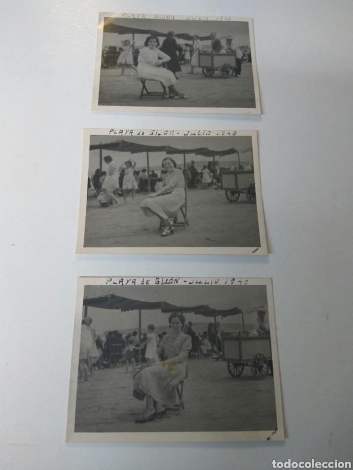 FOTOGRAFIAS ANTIGUAS PLAYA DE GIJON CARRITO HELADOS AÑO 1940 LOTE DE TRES (Fotografía Antigua - Albúmina)