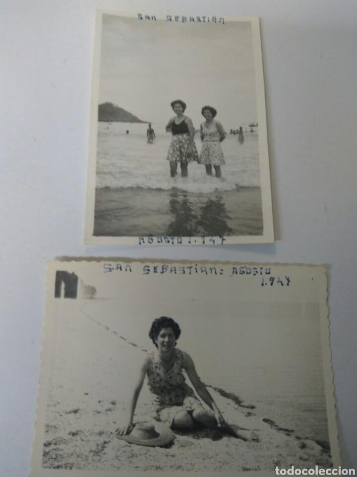 FOTOGRAFIAS ANTIGUAS PLAYA SAN SEBASTIÁN AÑO 1947 LOTE DE DOS (Fotografía Antigua - Albúmina)