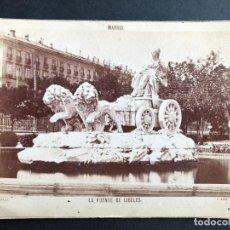 Fotografía antigua: FOTOGRAFÍA ALBÚMINA MADRID. FOTÓGRAFO J. LAURENT. FUENTE DE CIBELES.. Lote 183795613