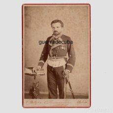Fotografía antigua: MILITAR - CORONEL MASCARÓ, JUNIO 1882. HABANA, CUBA. CABINET CARD 11X16,5 CM. FOTO PUMARIEGA.. Lote 183816165