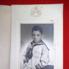 Fotografía antigua: FOTO DE UN NIÑO EN EL DÍA DE SU PRIMERA COMUNIÓN DE XILÉP LOGROÑO. Lote 183829490