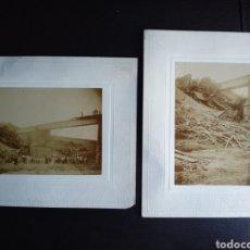 Fotografía antigua: DOS ALBUMINAS ORIGINALES ACCIDENTE DE TREN FERROCARRIL TORREMONTALBO LA RIOJA. Lote 184927630