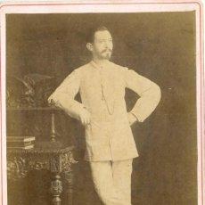 Fotografia antica: FILIPINAS MANILA. CABALLERO ESPAÑOL.DEDICADA EN 1884. TIPO CABINET.. Lote 185929531