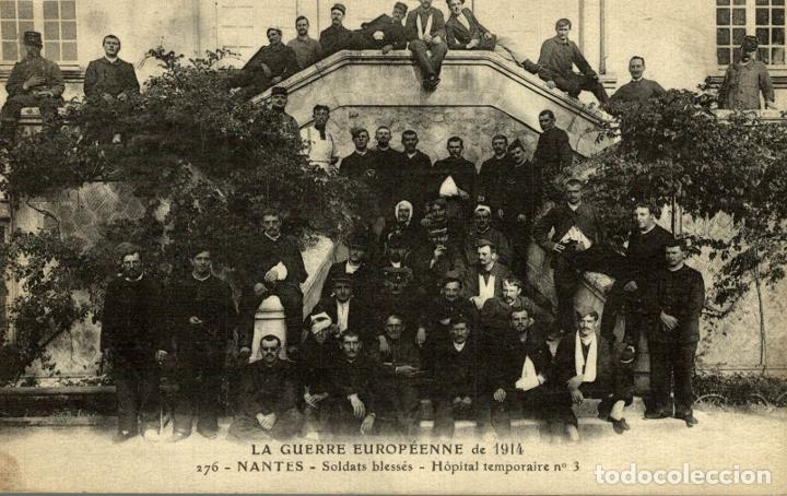 LA GUERRE EUROPÉENNE 1914 NANTES GROUPE DE SOLDATS BLESSÉS HOPITAL TEMPORAIRE NR 3 (Fotografía Antigua - Albúmina)