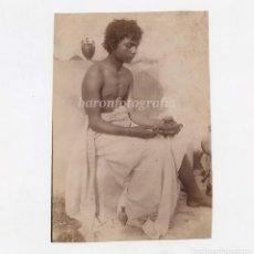 Fotografía antigua: WILHELM GUGLIELMO PLÜSCHOW - ATRIBUÏDO (1852-1930) JOVEN DE ITALIA. 1870'S. 10X14,5 CM.. Lote 189715002